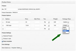 Package Class field in Product Entry (Per Product Option mode)