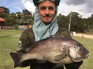 San Souci's Ben Bayfield with another unusual catch; a 1.030kg Grey Sweetlip