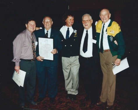taken at the USFA's 50th Re-union. From Left to Right, Mel Brown, George Davies, Andrew Ruddock, Merv Sheehan and Slim Ward.