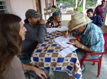 A farmer signing a reforestation contract.