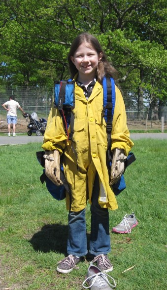 Eight-year old Jaime Heitkamp is ready to be a wildland firefighter! Credit: USFWS