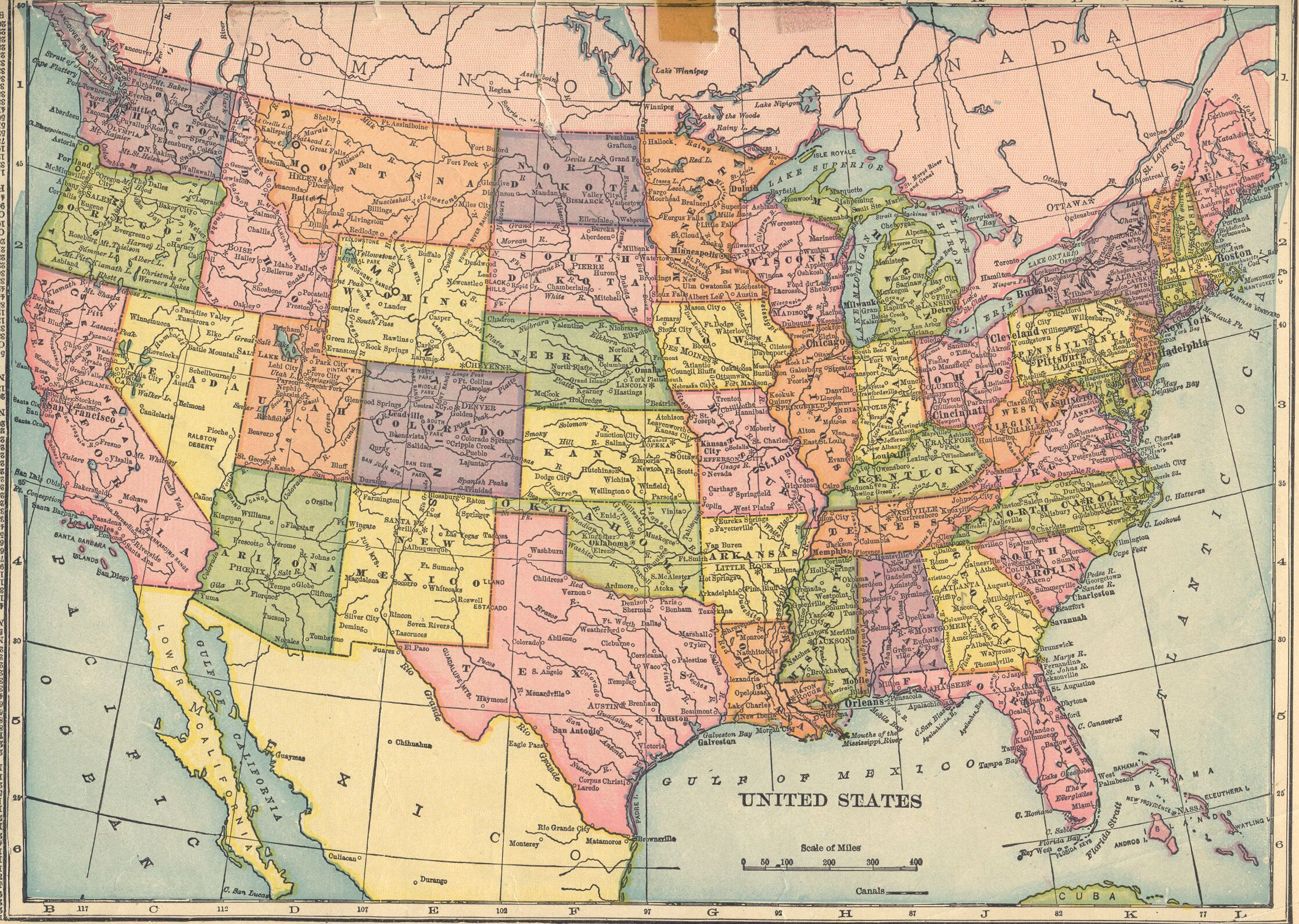 Map of the U.S. from C. S. Hammond & Company Atlas - 1910 - USGenWeb Project