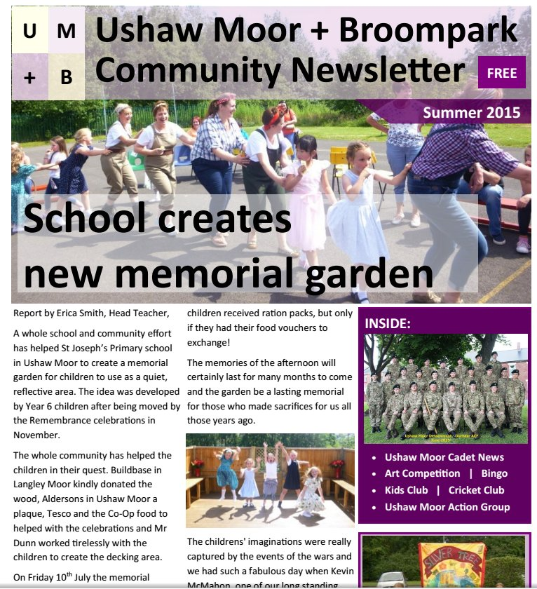 Ushaw Moor & Broompark Community Newsletter / Summer 2015 (1/2)