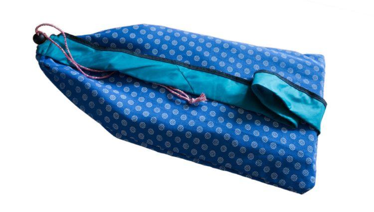 Buidel voor compact meditatiebankje - blauw met bloempje