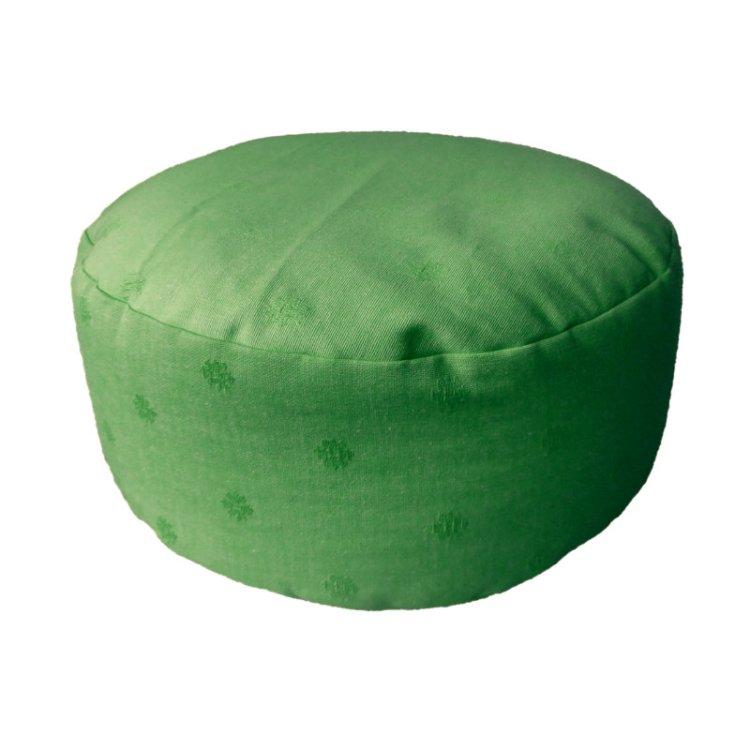 Rond meditatiekussen, groen met ingeweven bloemmotief