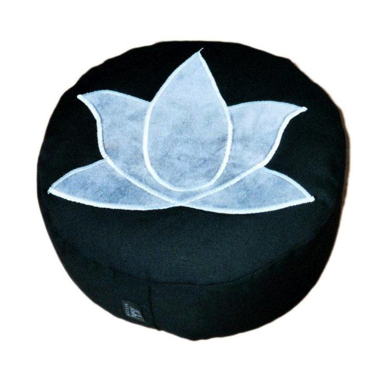 Meditatiekussen met lotus, grijs op zwart