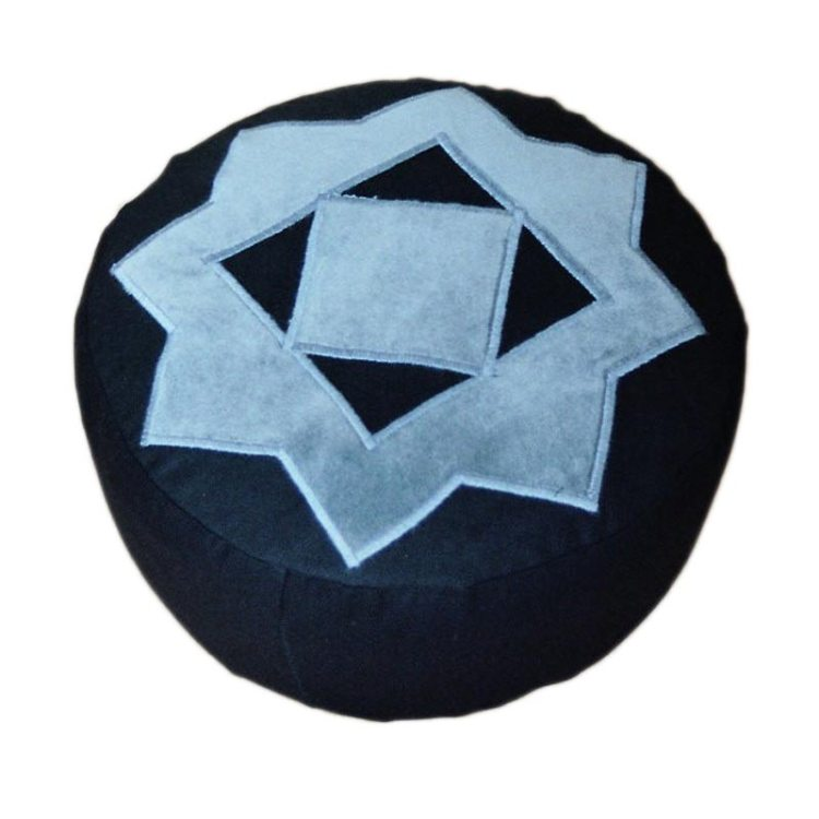 Meditatiekussen met achthoekige ster, grijs op zwart