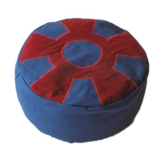 Meditatiekussen met wiel met middencirkel, bordeaux op donkerblauw