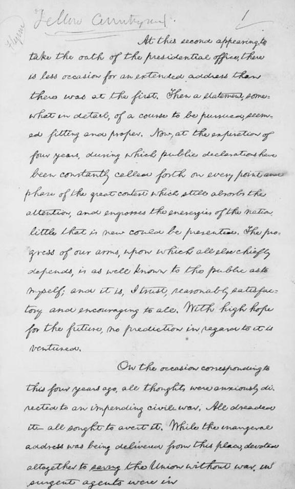 President Abraham Lincoln's Second Inaugural Address (1865)
