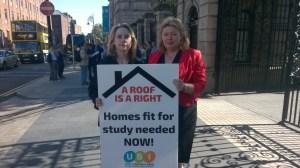 Laura Harmon, USI President, with Senator Aideen Hayden, in front of the Oireachtas.