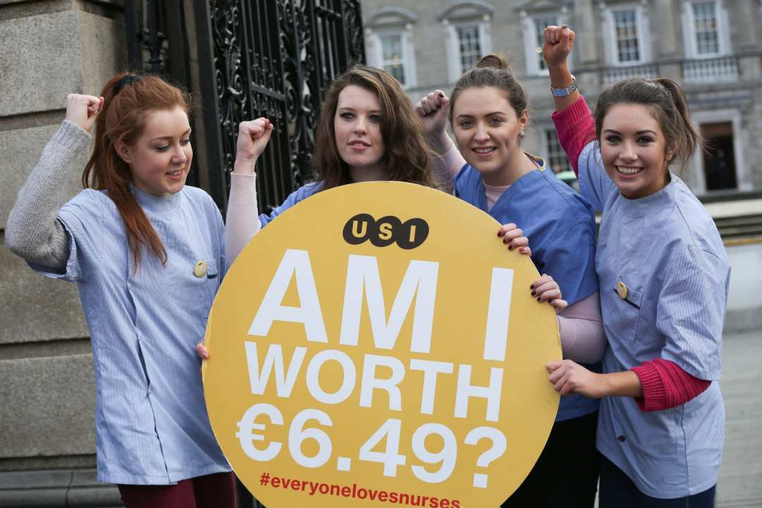 """*** NO REPRODUCTION FEE *** DUBLIN : 6/02/2014 : Pictured (l-r) at the launch the 'Everyone Loves Nurses' campaign organised by The Union of Students in Ireland (USI) were student representatives and student nurses Maeve Ledden, Siobhan Cahill, Caitriona Quinlan and Catriona Dowling. The launch was held ahead of a larger demonstration that will take place in a fortnight at the HSE. The starting salary for newly graduated nurses is now €22,000, a drop of €4,000 from the past starting salary of €26,000. This works out as €6.49 per hour. This is less than the current minimum wage of €8.65. The same graduate nurses can earn far more abroad, up to €43,614 in Canada. USI and student nurses from across the country are telling Minister James Reilly, who previously said they can """"emigrate or work in a fast food service if unhappy"""", that they've had enough. USI President Joe O'Connor said: """"The message to Minister Reilly today is loud and clear; change the starting salary level back to €26,000 for newly graduated nurses. Follow the campaign on Twitter using the hashtag #everyonelovesnurses. Picture Conor McCabe Photography. MEDIA CONTACT : Gráinne O Reilly, Communications and Research Executive, Union of Students in Ireland mobile : 087 677 6636 tele : 01 905 2100"""