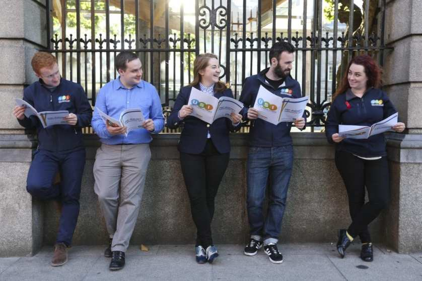 *** NO REPRODUCTION FEE *** DUBLIN : 6/9/2016 : USI Launches Pre-Budget Submission, proposing a minimum €500 reduction in fees, a €140m investment in higher education and a €5m investment in third level mental health counselling.The Union of Students in Ireland will launch its Pre-Budget Submission outside Leinster House at 8:30am on Tuesday the 6th September. The proposals in the submission will include a €500 minimum reduction in fees; a €140 million investment in higher education; reinstating postgraduate grants; and a €5million investment in third-level mental health counselling. USI President, Annie Hoey, said the government needs to match talk of economic recovery with financial investment in third-level education. Pictured (l-r) outside Leinster House, Kildare Street Dublin with USI Pre-Budget Submission were USI members Jack Leahy, Kieran McNulty, Siona Cahill, Dan Waugh and USI President Annie Hoey. Picture Conor McCabe Photography. MEDIA CONTACT : Fiona.omalley@usi.ie or call 0874495695