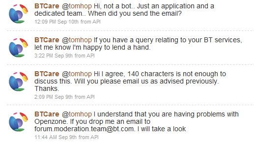BT customer service on twitter