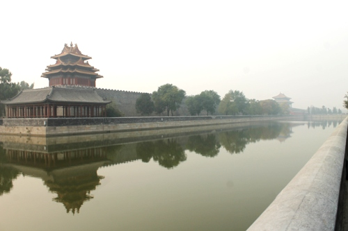 The north end of the Forbidden City, clothed in smog