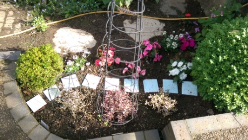 Pixie Path made from leftover bathroom tiles