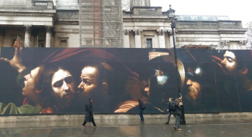 Giant poster outside the National Gallery