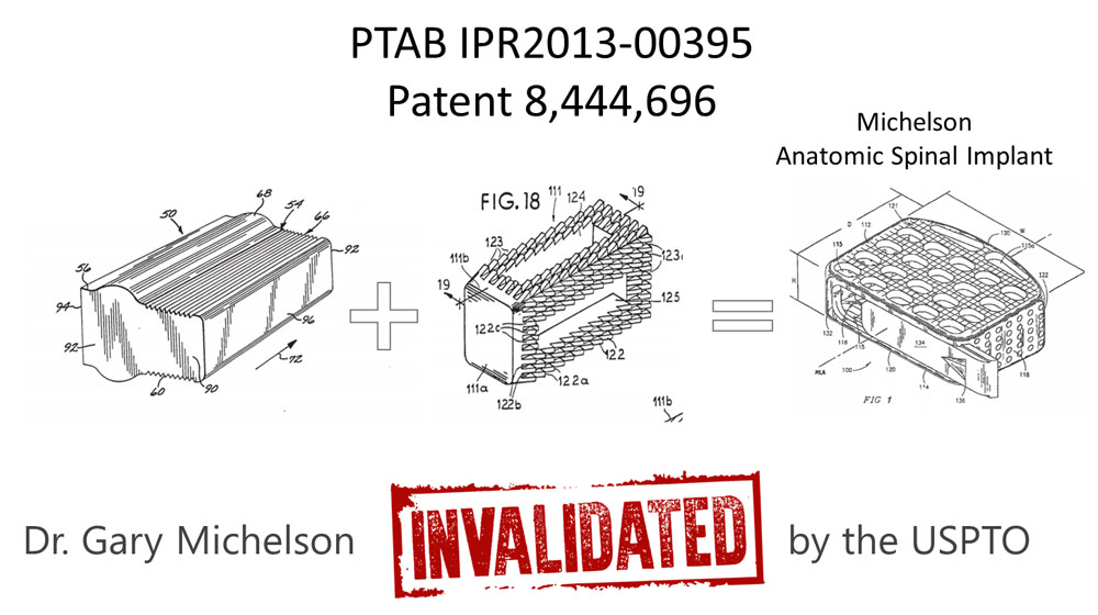 Dr Gary Michelson - Invalidated Patent