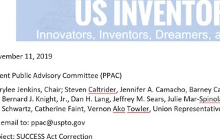 SUCCESS Act Letter from US Inventor