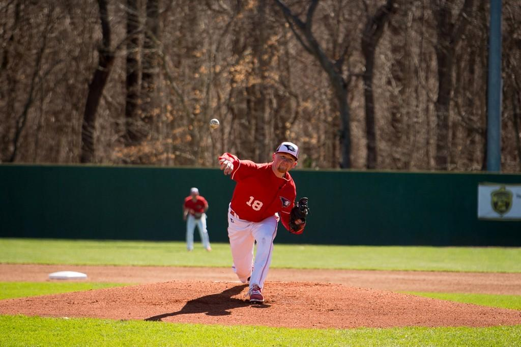 Junior Kyle Griffin throws out a pitch during a game against Drury University at the USI Baseball Fields. Griffin is a transfer student who previously played two seasons at Wabash Valley College and spent a season with the University of Houston.