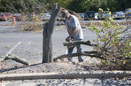 Parking lot partially closed for landscaping