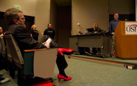 Students, officials raise domestic violence awareness in heels