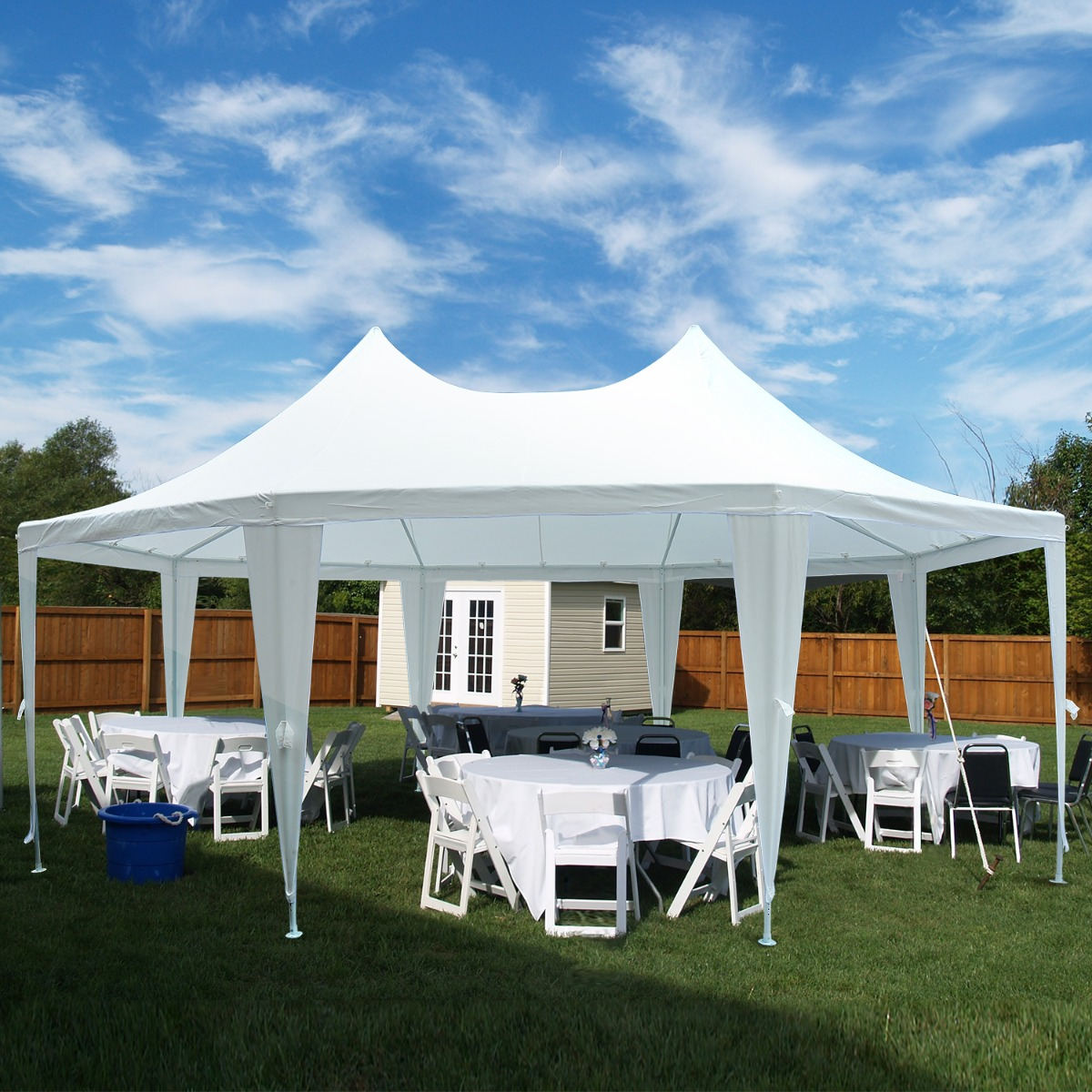 Party Tent Outsunny 22.3ft Octagonal Party Tent Wedding Shelter Outdoor White