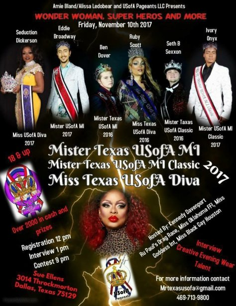 Good Luck To All The Contestants At Mister Texas USofA MI 2017!