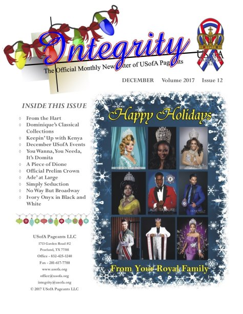 USofA Pageants Integrity Newsletter December 2017