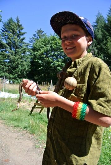 Edwin avec un gardener snake