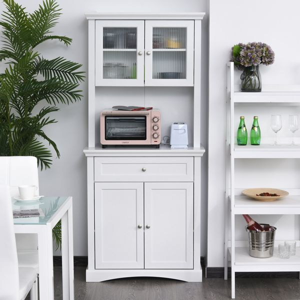 Homcom Free Standing Kitchen Pantry 72 Traditional Tall Kitchen Pantry Cabinet Cupboard With Doors Adjustable Shelving White Wooden Pantry Buffet Aosom