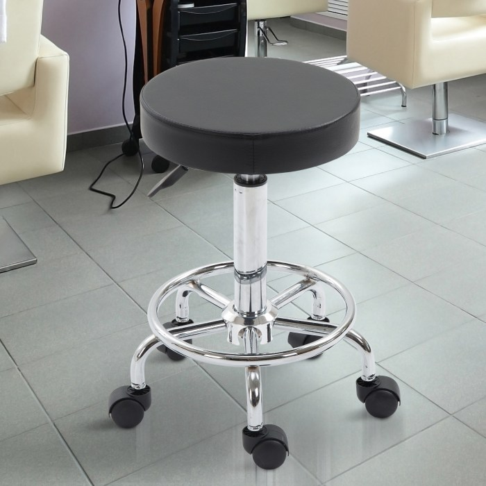 Vinsetto Adjustable Swivel Salon Stool Hydraulic PU Barber Rolling Massage Tattoo Chair Bar Beauty SPA Seat Black