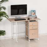 Homcom Foldable Spacious Computer Desk Executive Study Desk Student Table With 3 Drawers Wheels Workstation Home Office Folding On W Office Desks Work Stations Aosom Canada