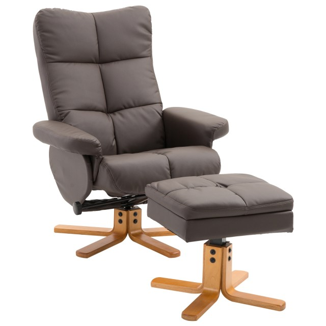 HOMCOM Leather Recliner and Ottoman Set Swivel Lounge Chair With Storage Footrest Wood Base Living Room Furniture Brown