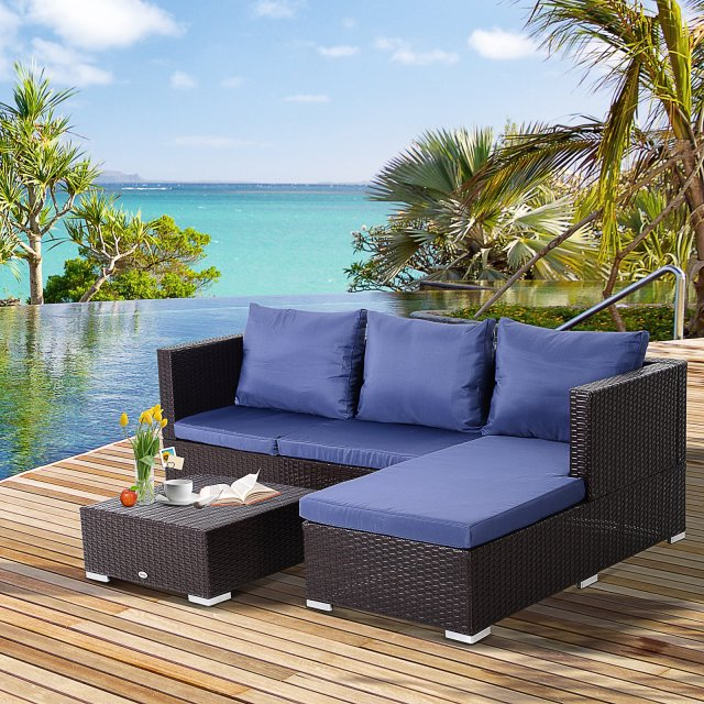 Outsunny 3 Piece Adjustable Seat Rattan Wicker Sofa Steel Frame Furniture Set Sleeping Couch Bed Lounge Coffee