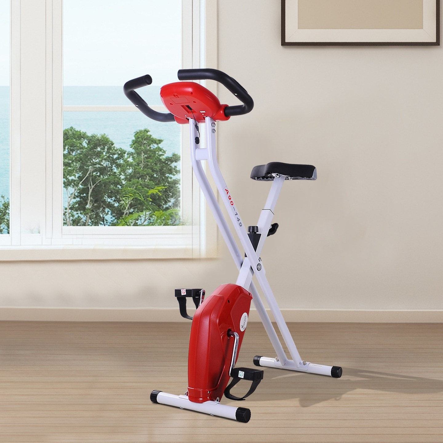 Soozier Slim Cycle Foldable Exercise Bike w/ LCD Monitor and Pulse Strength Training