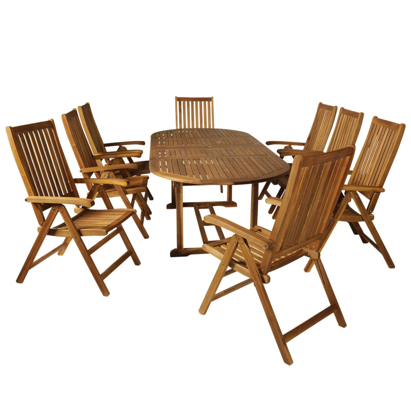 Outsunny Acacia Wood 9 Piece Extendable Oval Patio Dining Table Set - Wood