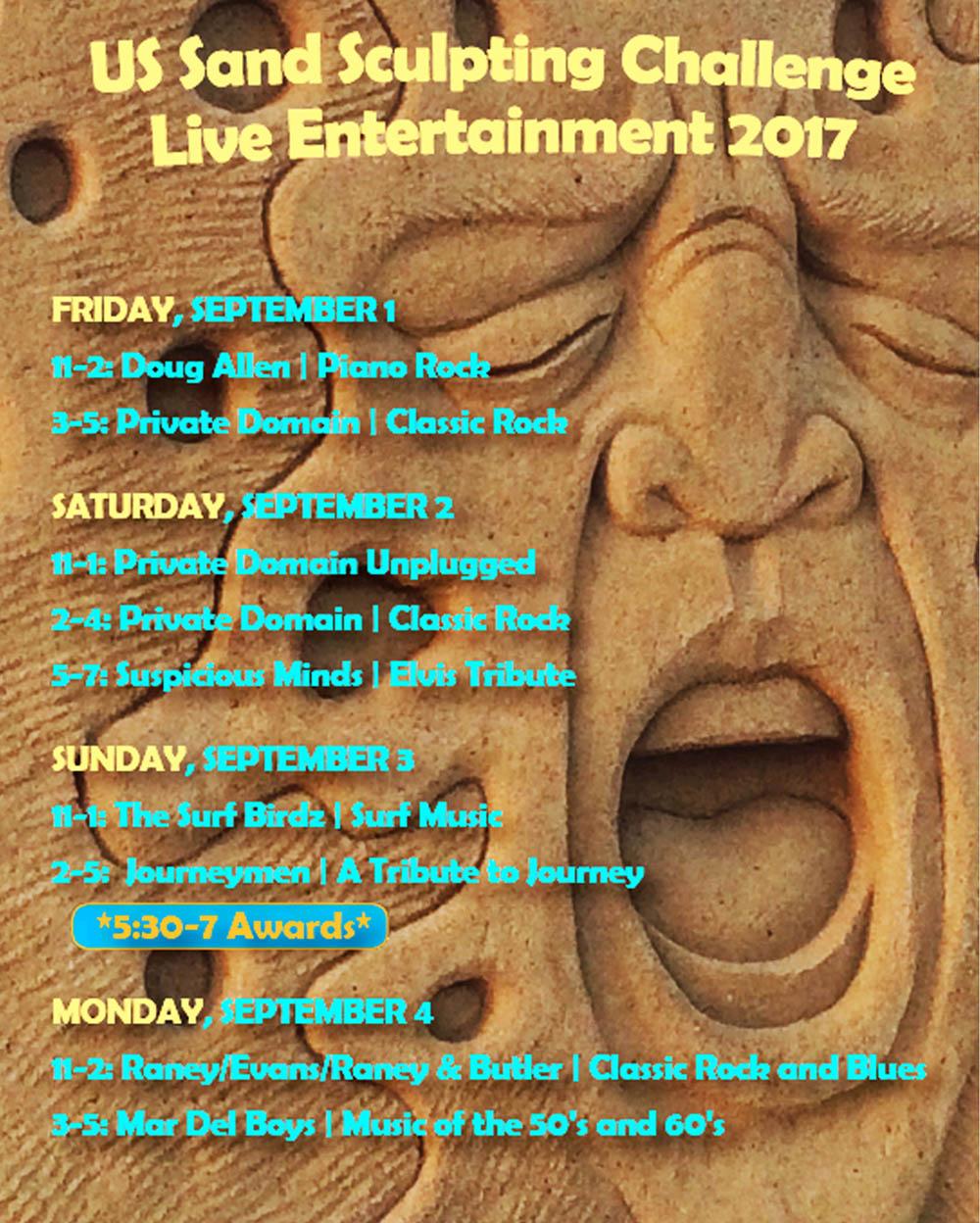 Entertainment schedule