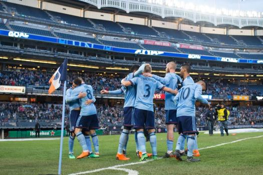 NYCFC David Villa goal celebration.