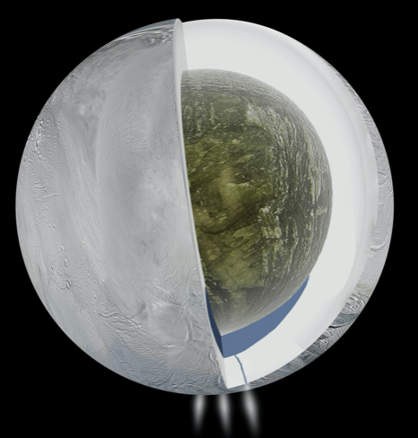 Icy Enceladus with a yummy green centre
