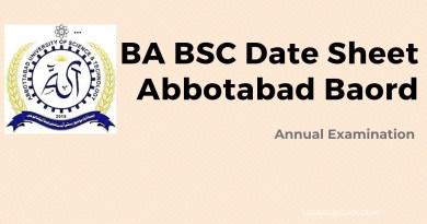 BA Date Sheet Abbottabad Board