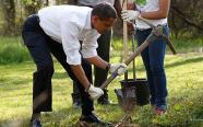 U.S. President Barack Obama digs a hole to plant a tree at Kenilworth Aquatic Gardens in Washington...U.S. President Barack Obama digs a hole to plant a tree at Kenilworth Aquatic Gardens in Washington, April 21, 2009. REUTERS/Jason Reed (UNITED STATES POLITICS SOCIETY ENVIRONMENT)