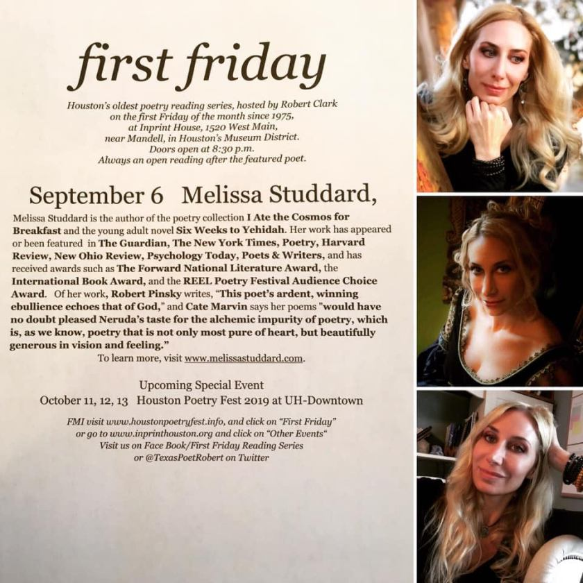 first friday - Houstons oldest poetry reading series hosted by Robert Clark at Inprint House presents Melissa Studdard