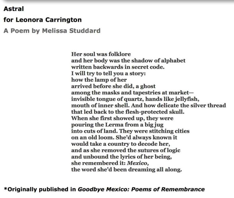 Astral for Leonora Carrington by Melissa Studdard