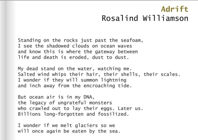 Rosalind Williamson with her first published poem