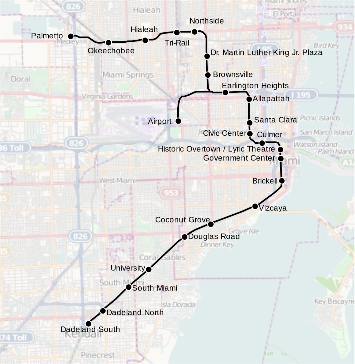 Metrorail (Miami) — Map, Lines, Route, Hours, Tickets within Miami Transit Rail Map