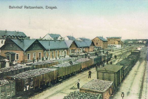 Dobová fotografie souprav ze stanice Reitzenhain.