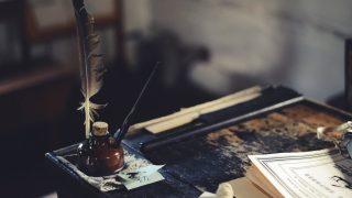 万年筆と羽根
