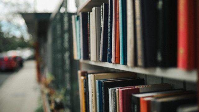 窓の外の景色と本棚