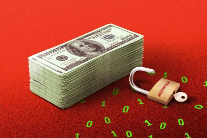 ドル札の束と南京錠