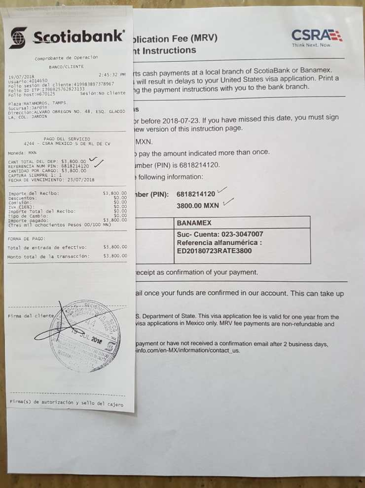 CSRA - MRV - US - Visa - Application Fee payment in Pesos - In-Person at BanAmex - Scotia - Mexican Banks in Matamoros - Monterrey- Mexico city - Nogales - Nuevo Laredo - Tijuana - cuidad juarez - Guadalajara- Mexico - H1B - H4 - E3 - E3D - L1A - L1B - L2 - F1 - J - O - Visa fee payment in Mexico